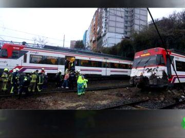 Descarrila un tren de Cercanías en Vizcaya a causa de un desprendimiento de tierra