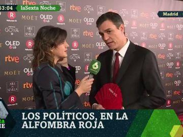 Pedro Sánchez en la alfombra roja de los Goya 2018