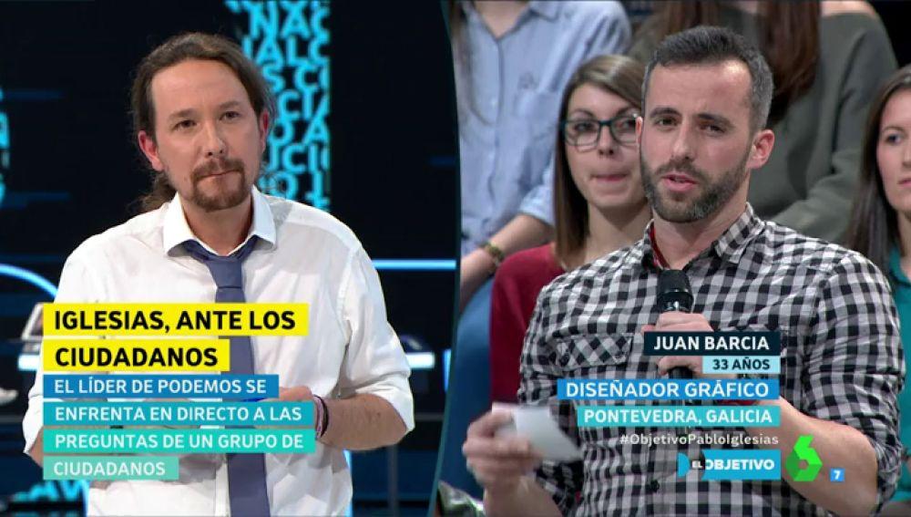 Pablo Iglesias responde a Juan Barcia en El Objetivo