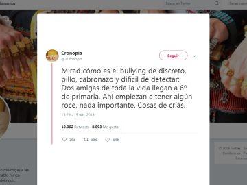 Tuit de una madre sobre el acoso escolar