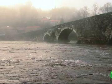 Crecida de un río en el norte de España