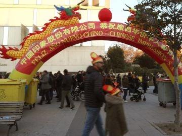 Decoración china en el acto de celebración del Año Nuevo Chino