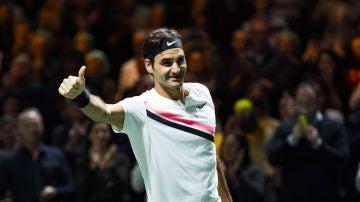 Roger Federer disputando un partido