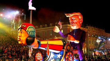 La figura de Trump y Kim Jong Un en el carnaval de Niza