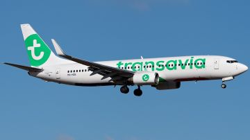 Un avión de la compañía Transavia Airlines con la que llegarán los primeros turistas europeos