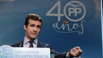 Pablo Casado en la sede del PP
