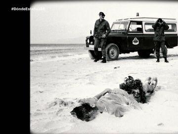 El cuerpo de un inmigrante en Tarifa 1988