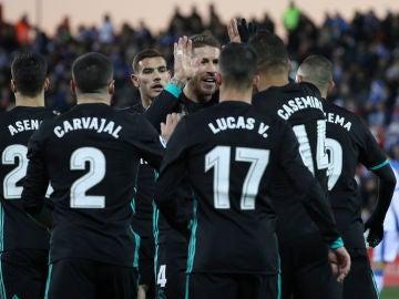 El Real Madrid celebra uno de los goles contra el Leganés
