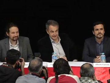 Pablo Iglesias, José Luis Rodríguez Zapatero y Alberto Garzón