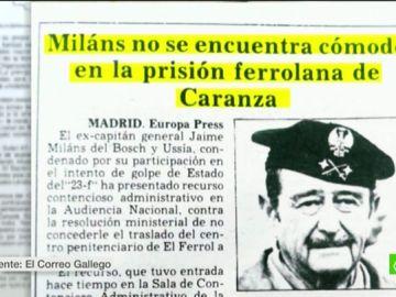 Los golpistas del 23F vivieron en la cárcel con mayordomo, marisco y vinos de reserva