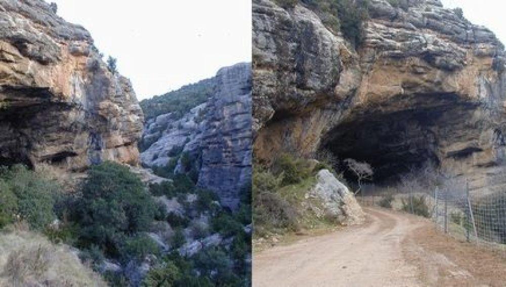 Exterior de la cueva antes y después de los trabajos