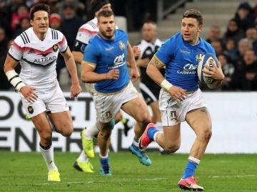 Momento del partido entre Francia e Italia