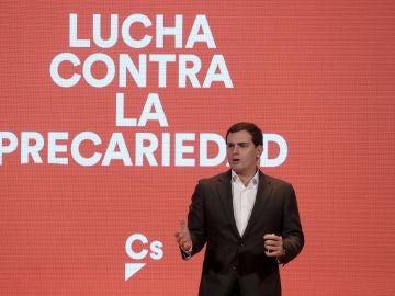 El presidente de Ciudanos, Albert Rivera, durante su intervención en el acto 'Nuevo modelo laboral: Lucha contra la precariedad'