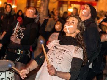 Manifestación en la plaza del Ayuntamiento de Palma en apoyo a Valtonyc