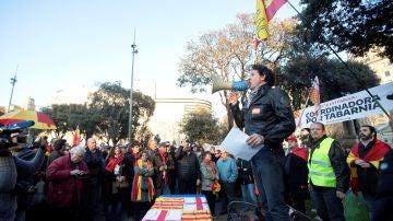 Álvaro de Marichalar en una concentración convocada por la Coordinadora por Tabarnia en la plaza de Cataluña de Barcelona