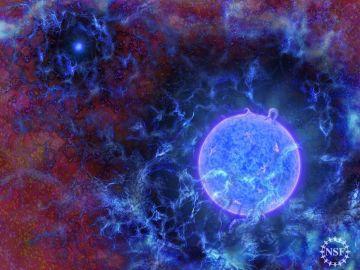 Representación artística que muestra cómo pudieron ser las primeras estrellas del universo