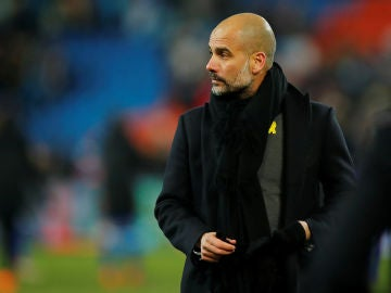 Guardiola, durante un partido del Manchester City
