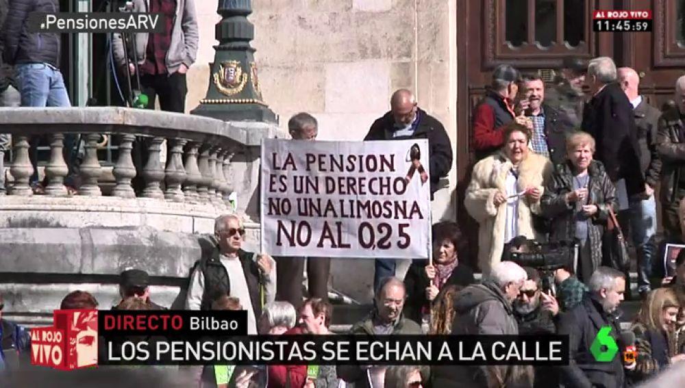 Los pensionistas vuelven a salir a las calles de Bilbao contra la subida del 0,25%