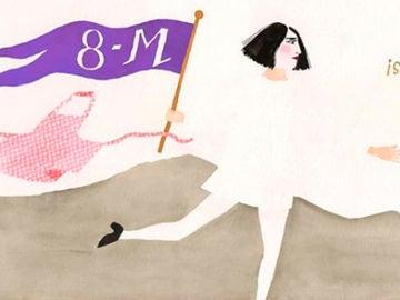 Una de las ilustraciones que invita a participar en la huelga del 8 de marzo