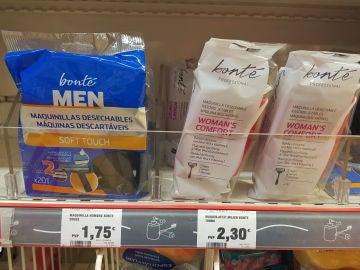 Diferencia de precios entre maquinillas de hombre y de mujer