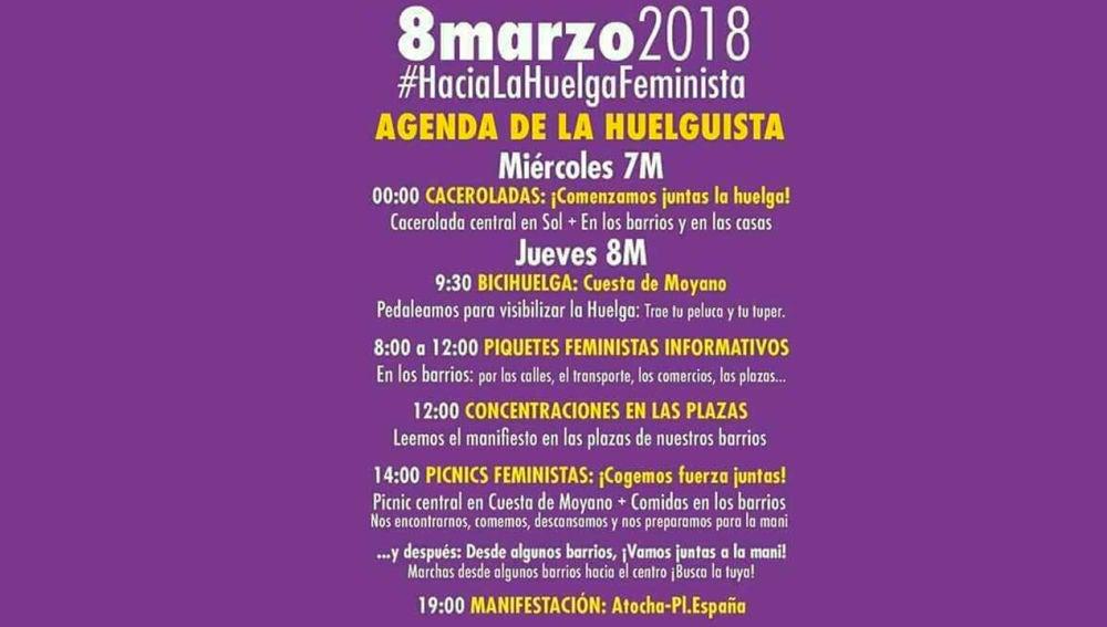 Agenda para la huelga feminista del 8 de marzo