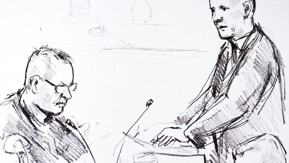 Un dibujo de Anne Gyrite Schuett muestra al acusado, Peter Madsen