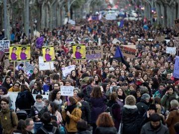 Manifestación feminista por la huelga del 8M de 2018 en España
