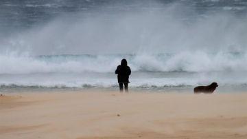 Una mujer pasea junto a su perro en la playa de los Lances en Tarifa (Cádiz)