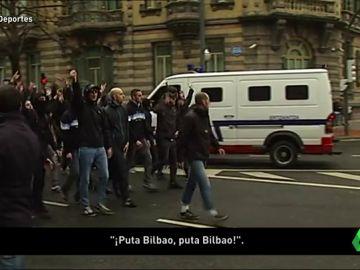 Tensión y confusión en la llegada de los ultras del Marsella a San Mamés