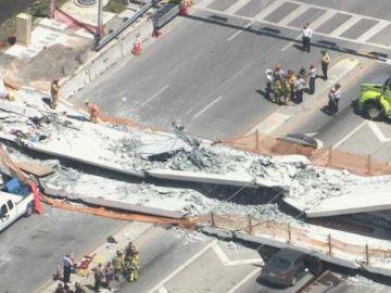 Puente derrumbado en Miami