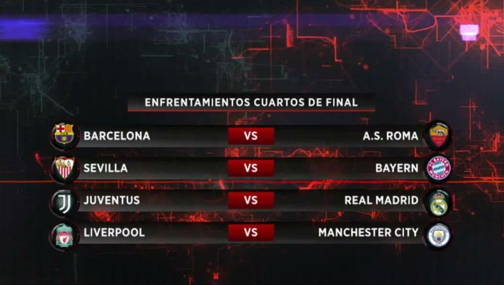 Los emparejamientos de cuartos de final de la Champions