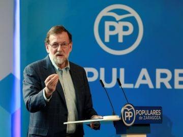 El presidente del Gobierno de España, Mariano Rajoy, durante un acto del PP