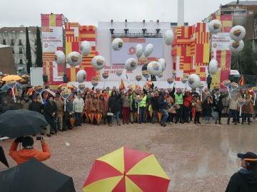Vista de la manifestación convocada por Societat Civil Catalana en Madrid