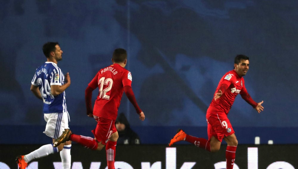 Ángel celebra un gol con el Getafe
