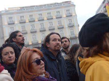 Pablo Iglesias en la manifestación de los pensionistas en Madrid