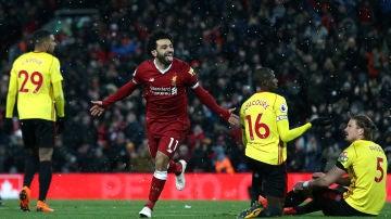 Salah celebra uno de sus goles con el Liverpool