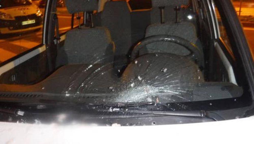 Estado en el que quedó la lucha de un coche tras caerle una merluza congelada