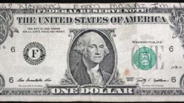 Billete de un dólar con mensaje misterioso