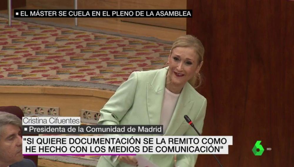 Cifuentes en la Asamblea de Madrid