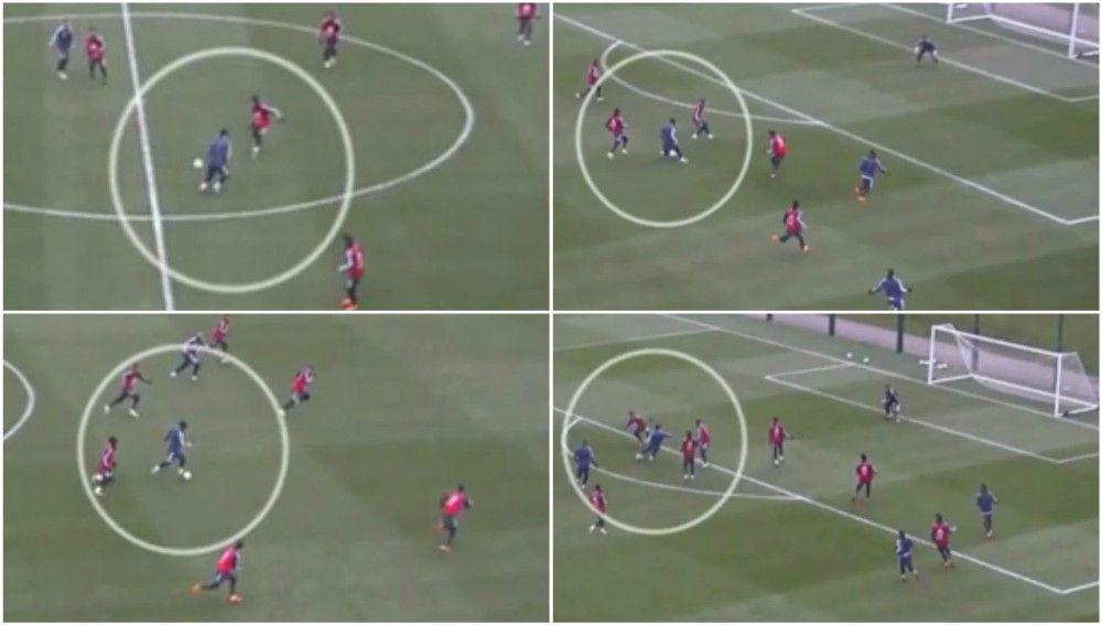 Gol de Messi durante el entrenamiento de Argentina