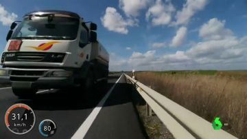 Una captura del vídeo que grabó el ciclista