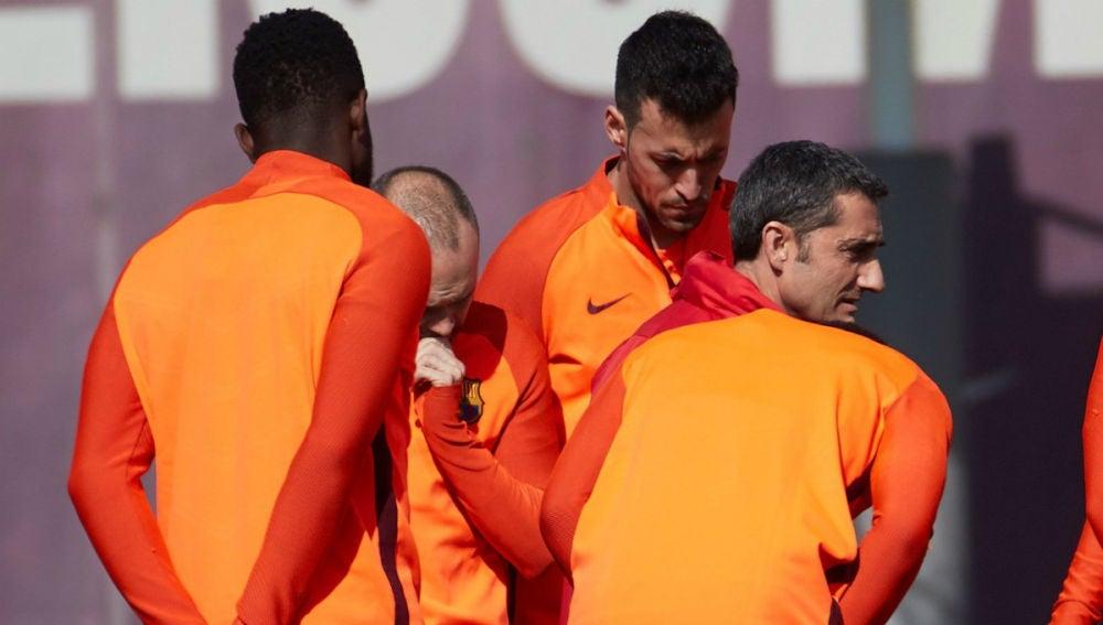 Busquets, en el entrenamiento del Barcelona