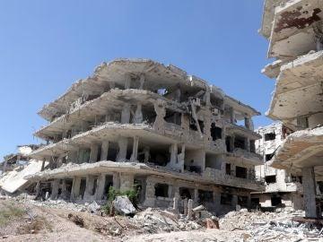 Vista de un edificio en ruinas en el pueblo de Jobar, en Guta Oriental