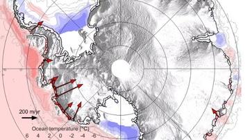 Gráfico del retiro del hielo submarino en la Antártida