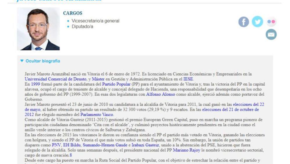 Currículum de Javier Maroto en la web del PP