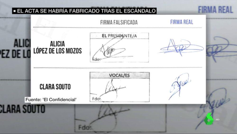 Firmas falsificadas del acta del TFM de Cifuentes