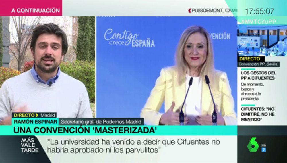 """Ramón Espinar: """"La URJC ha venido a decir que Cristina Cifuentes no habría aprobado ni los parvulitos"""""""