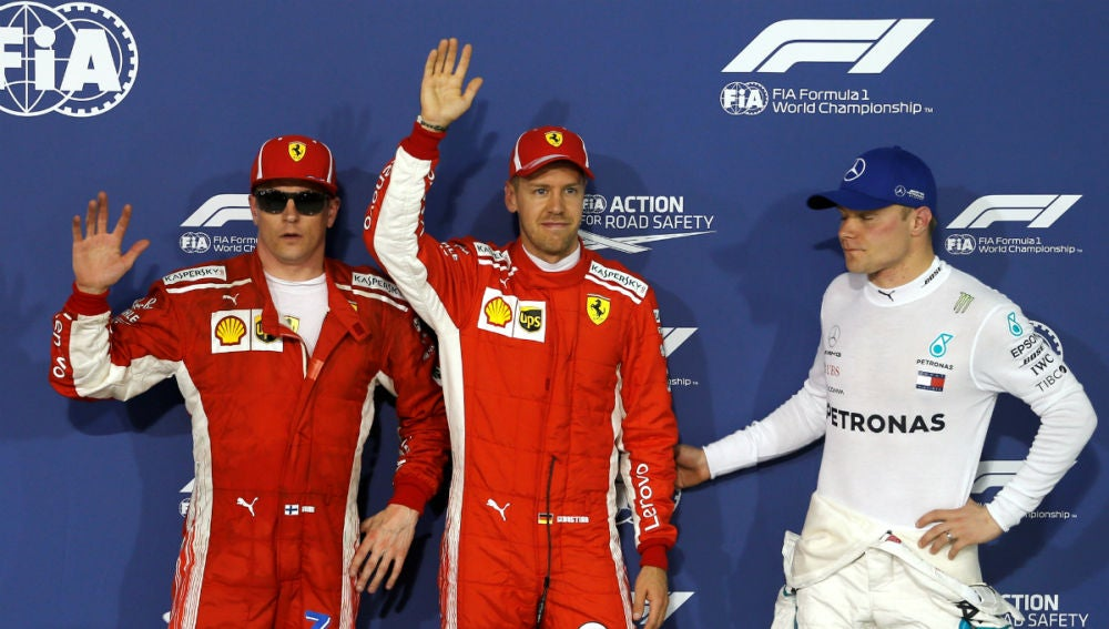 Raikkonen, Vettel y Bottas