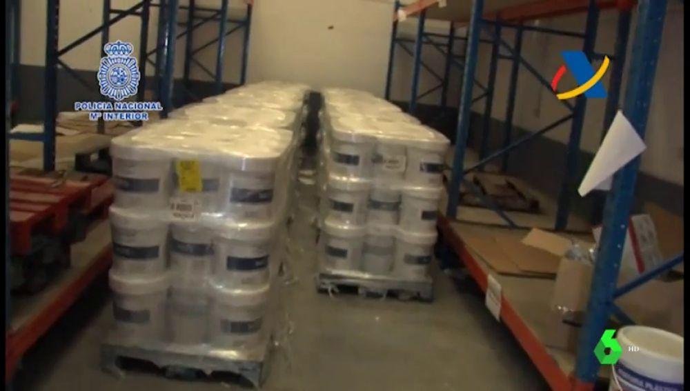La Policía Nacional interviene en Madrid 370 kilos de marihuana trasportada en botes de pintura por una organización china