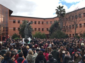 Concentración de estudiantes de la Universidad Rey Juan Carlos